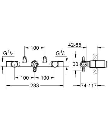 Смеситель двухвентильный GROHE Ondus хром (29025000)