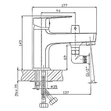 Смеситель для ванны на борт Rossinka Silvermix S35-38 хром