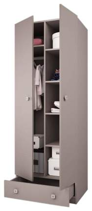 Детский шкаф двухсекционный Polini Simple с 1 ящиком, серый