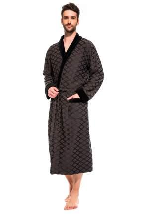 Мужской облегченный махровый халат из бамбука Peche Monnaie 420, темно серый, 3XL