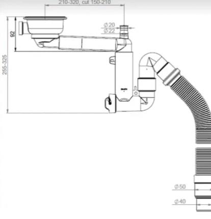 Сифон для кухонной мойки Prevex 41K13929