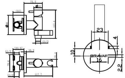 Смеситель с гигиеническим душем BRAVAT D9137CP-RUS