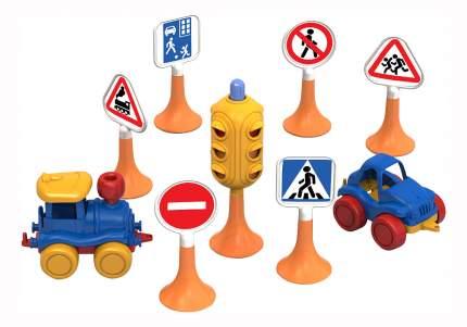 Набор Нордпласт Дорожные знаки №3 (светофор, 6 знаков, 2 машинки нордик)