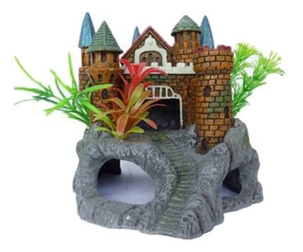 Грот для аквариума МЕЙДЖИНГ АКВАРИУМ Крепость с растениями, полиэфирная смола, 15х14х16 см