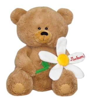 Мягкая игрушка LAVA Медвежонок с большой ромашкой музыкальный 21 см