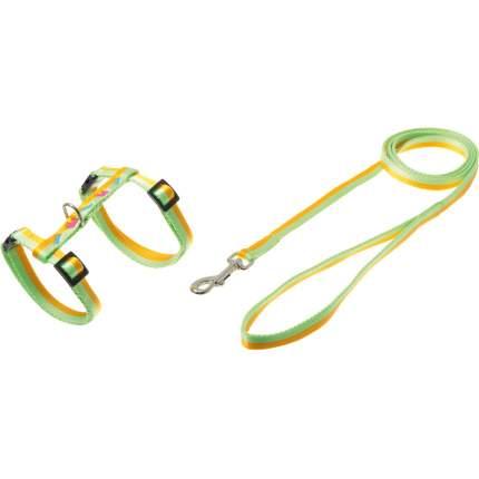 Шлейка и поводок для собак Cameo Собачки-косточки, желто-зеленый, 10 мм (30-35 см)