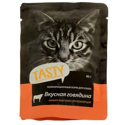 Влажный корм для кошек TASTY Petfood, с говядиной в желе, 25шт по 85г