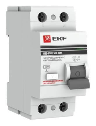 """Выключатель дифференциального тока (УЗО) EKF """"ВД-100 PROxima"""", 2 P, 25 А, 30 мА"""