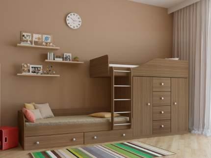 Двухъярусная кровать со шкафом РВ Мебель Астра-6 Дуб Шамони