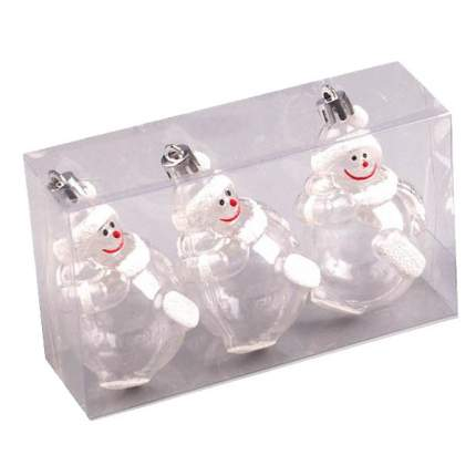 Набор елочных игрушек Новогодняя сказка Снеговик 3 шт 8 см