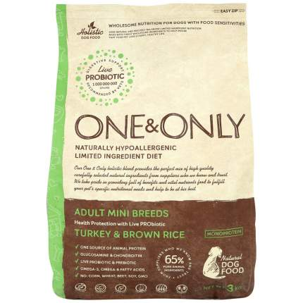 Сухой корм для собак ONE&ONLY Adult Mini Breeds, для мелких пород, индейка с рисом, 3кг