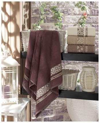 Набор полотенец DO&CO camellia бежевый, коричневый