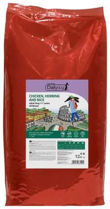 Сухой корм для собак Dailydog Casual Line Adult, курица, сельдь и рис, 12кг