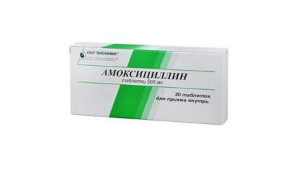 Амоксициллин таблетки 500 мг 20 шт. Биохимик