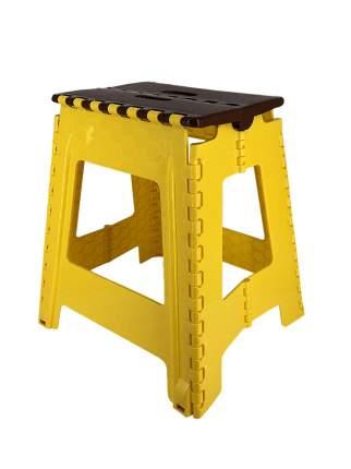 Табурет Трикап складной пластиковый большой, коричневая крышка/желтая основа