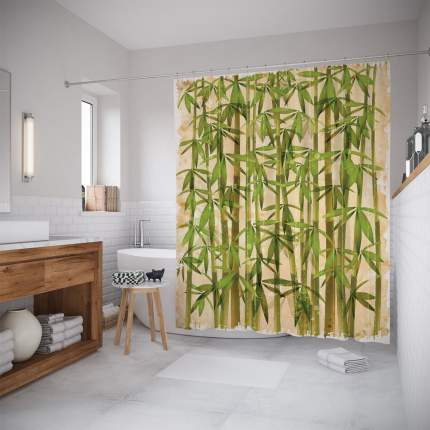 Штора для ванной JoyArty «Зеленеющий бамбук» 180x200