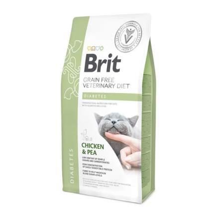 Сухой корм для кошек Brit Veterinary diet Diabetes, при диабете, курица и горох, 2кг
