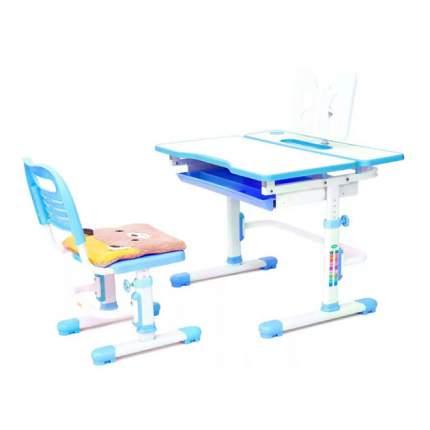 Комплект растущая парта и стул Rifforma Comfort-07 белый голубой,