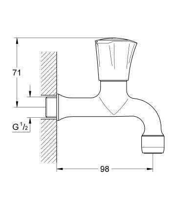 Вентиль для кухни GROHE Costa L (без смешивания), хром