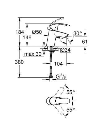 Смеситель для раковины Grohe Eurosmart New 32467002 хром