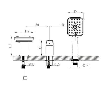 Смеситель для ванны на борт LEMARK Unit LM4545C хром