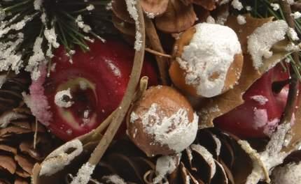 Kaemingk Венок ЭКО заснеженный 33 см с шишками и ягодами 620530