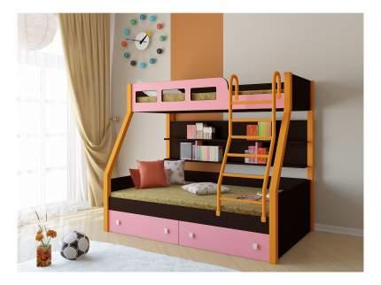 Двухъярусная кровать РВ мебель Рио каркас венге/оранжевый розовая