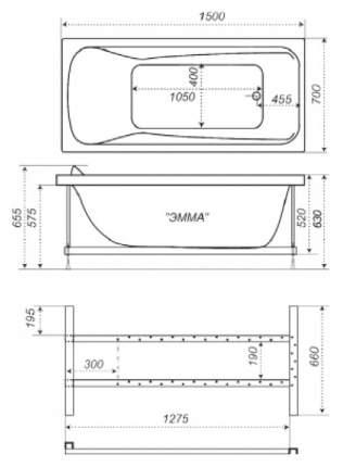 Акриловая ванна Triton Эмма 150х70 без гидромассажа