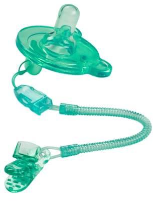 Соска-пустышка силиконовая Happy Baby Aqua с держателем и контейнером
