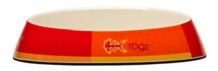 Одинарная миска для кошек Rogz, силикон, керамика, оранжевый, белый, 0.2 л