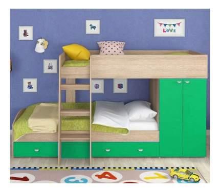 Двухъярусная кровать Golden Kids 2 дуб сонома/зеленая