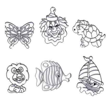 Наборы для создания витража AMOS Набор 2 : Рыбка, бабочка, лев, клоун, черепаха, кораблик