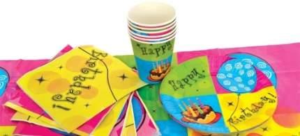 Набор одноразовой посуды для праздника Action! С Днем Рождения!