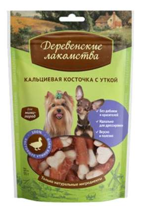 Лакомство для собак Деревенские лакомства Кальциевая косточка с уткой, для мини-пород, 55г