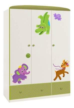 Детский шкаф трехсекционный Polini Basic Elly белый-зеленый