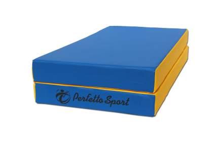 Гимнастический мат Perfetto Sport № 3 (100 х 100 х 10) складной сине-желтый