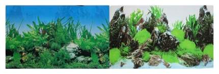 Фон для аквариума Prime Растительный/Скалы с растениями, винил, 100x50 см
