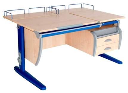 Парта Дэми СУТ-17-04 С подвесной тумбой и двумя задними приставками Клен Синий, 120х80 см