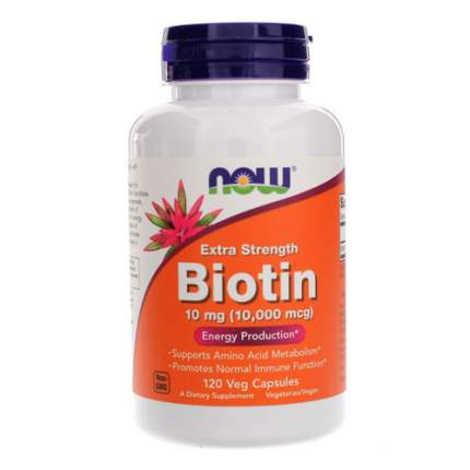 NOW Biotin 10000 мкг (120 капсул) - биотин, витамины для волос, ногтей и кожи