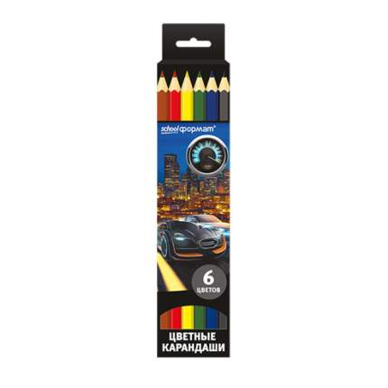 Набор цветных карандашей МИР СКОРОСТИ 6 цв. шестигранные