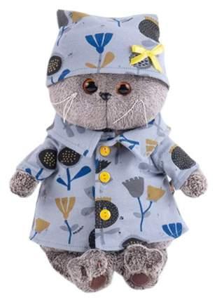 Мягкая игрушка BudiBasa Басик в голубой пижаме в цветочек 19 см