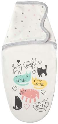 "Пеленка-кокон Крошка Я ""Cats"", белый, рост 50-62см Крошка Я"