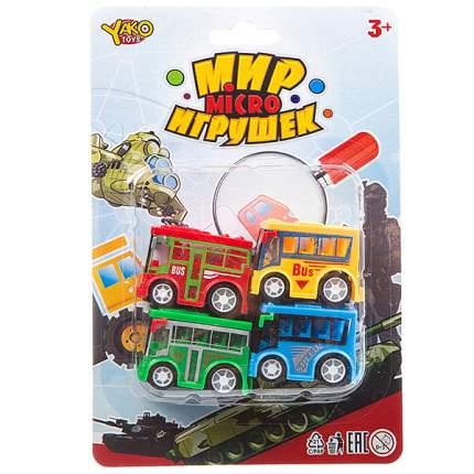 Набор инерц. автобусов 4 шт.,серия  Мир micro Игрушек, CRD 13,5х20 см, арт.M7618-1.