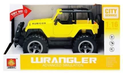 Джип Junfa toys желтый 1:16 световые и звуковые эффекты