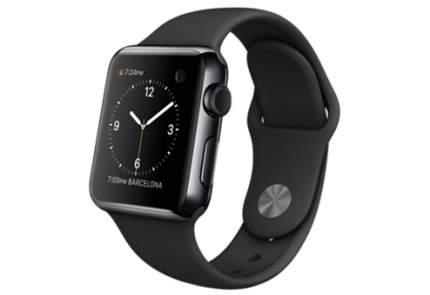 Apple Watch 38 мм, черный спортивный ремешок 130-200 мм