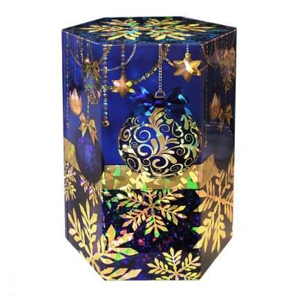 Чай ИМЧ сияние праздника шестиугольник синий черный листовой 75 г