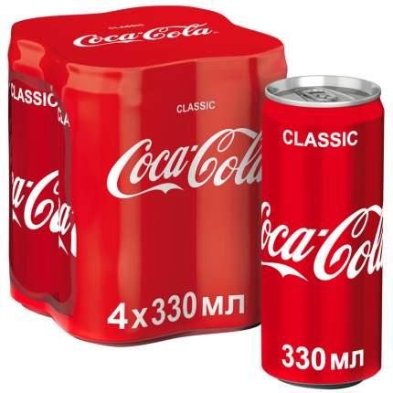 Напиток Coca-Cola сильногазированный 0.33 л  4 штуки в упаковке