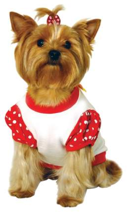 Футболка для собак Triol размер S женский, красный, белый, длина спины 23 см