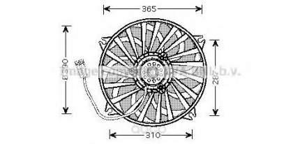 Вентилятор радиатора основного Peugeot 307 00-10 all ac  Ava PE7529