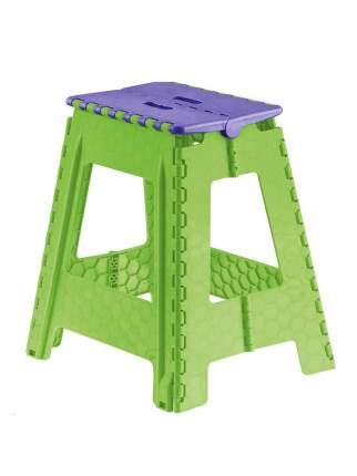 Табурет Трикап складной пластиковый большой, фиолетовый/салатовый